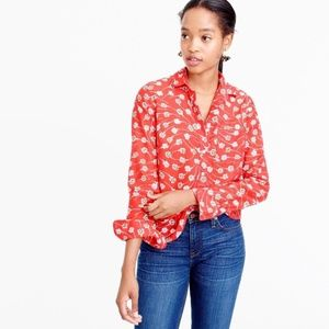 J. Crew Popover Top Blouse in Falling Floral NEW